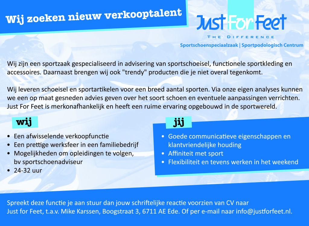 Vacature Just For Feet